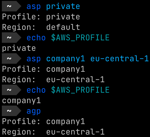 Oh My Fish asp plugin for AWS profile change