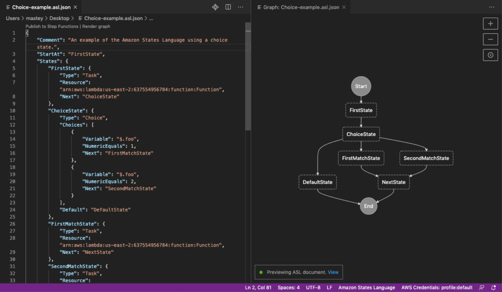 Step Function graph preview in VS Code